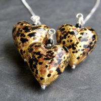 Murano glass heart pendant Gold and Topz