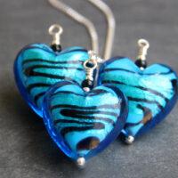 Murano glass heart pendant - Turquoise Caramella