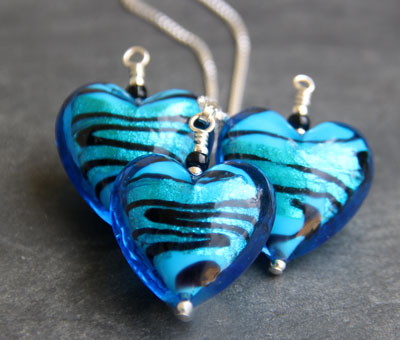 Caramella Murano Glass Heart Pendants