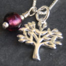 Tree of Life pendant with Amethyst Murano glass charm