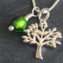 Tree of Life pendant with Dark green charm