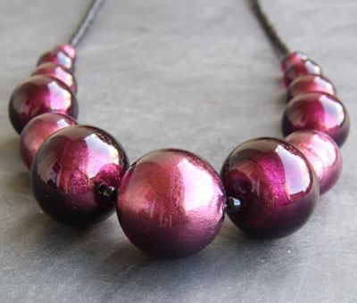 Amethyst Murano glass necklace