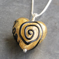 Gold and Black heart pendant