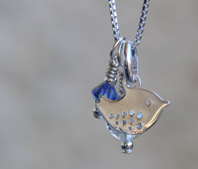 Bluebird day charm pendant with blue crystal and crystal Murano glass charm