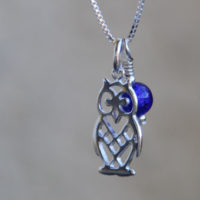 Cobalt blue owl and moon pendant