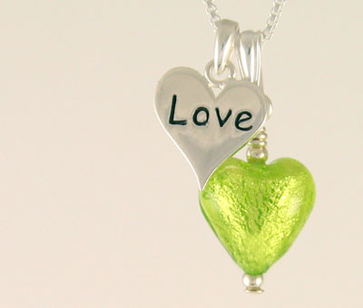 Love Charm heart pendant in Green
