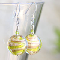 Julietta Green and Gold Murano glass earrings