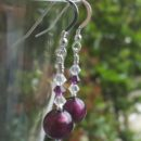 Carina Murano glass earrings in Lakeland Heather