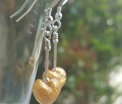 Gold Murano glass heart earrings