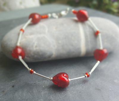 Firefrost Murano glass heart bracelet