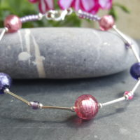 Pink and Purple Murano glass bracelet