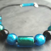 Turquoise and Marino Murano glass necklace.