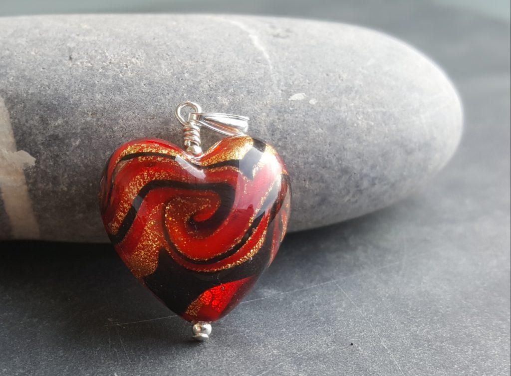 Firefrost Murano glass heart