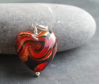 Firefrost Murano glass heart