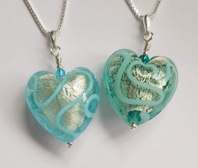 Medusa Heart Pendants Aqua and Marino Firefrost Designs