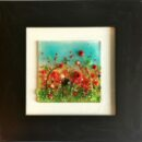 fused glass red poppy picture