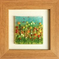 Fused Glass Yellow Poppy Picture
