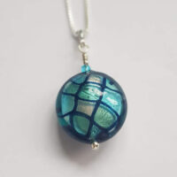 Harlequin Pendant Turquoise Murano Glass Firefrost Designs