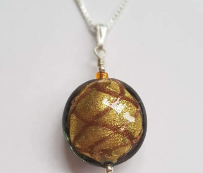 Harlequin Pendant Gold Murano Glass Firefrost Designs