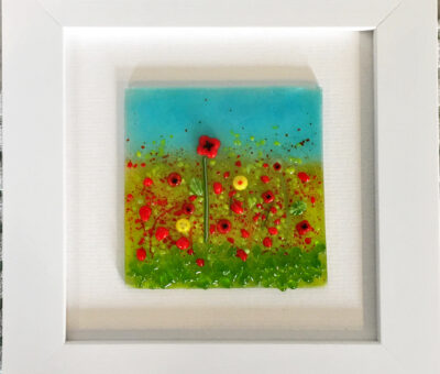 Firefrost Designs Red Poppies Flower Garden Fused Glass